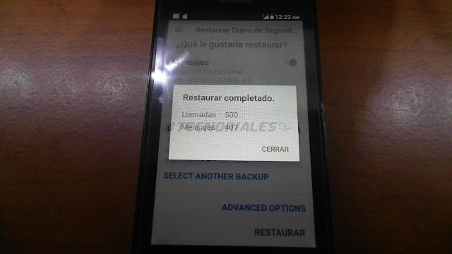 Restaurar completado sms backup and restore
