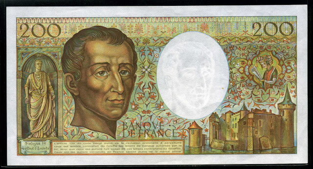 France money currency cash French Franc euro Montesquieu bank note bill