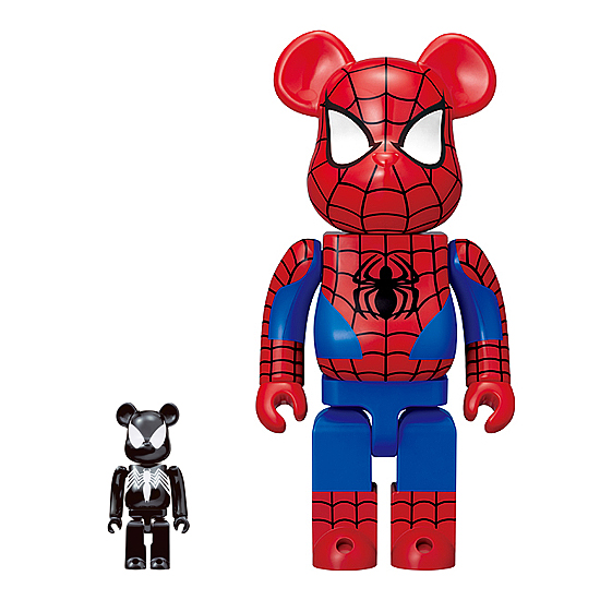 Medicom x Happy Kuji Marvel Universe Be@rbrick Series - Black Suit Spider-Man 100% Be@rbrick & Spider-Man 400% Be@rbrick