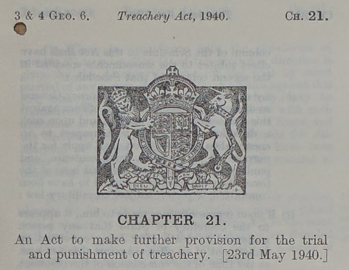 Treachery Act - 23 May 1940 - Header (National Archives - LCO 53/54)