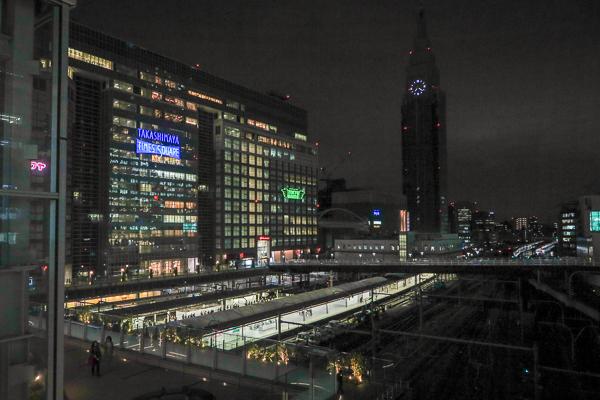 Takashimaya Times Square and the platforms and lines of Shinjuku Station, from Busta Shinjuku, Tokyo.