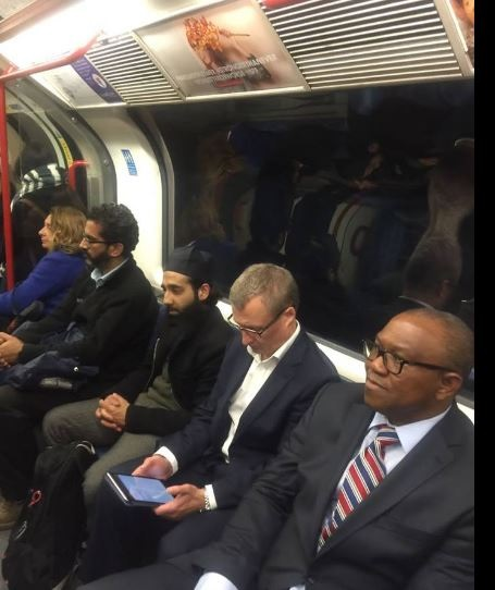 Nigerian Man Left Shocked After Spotting Ex-Governor Peter Obi on a Train in the UK (Photos)