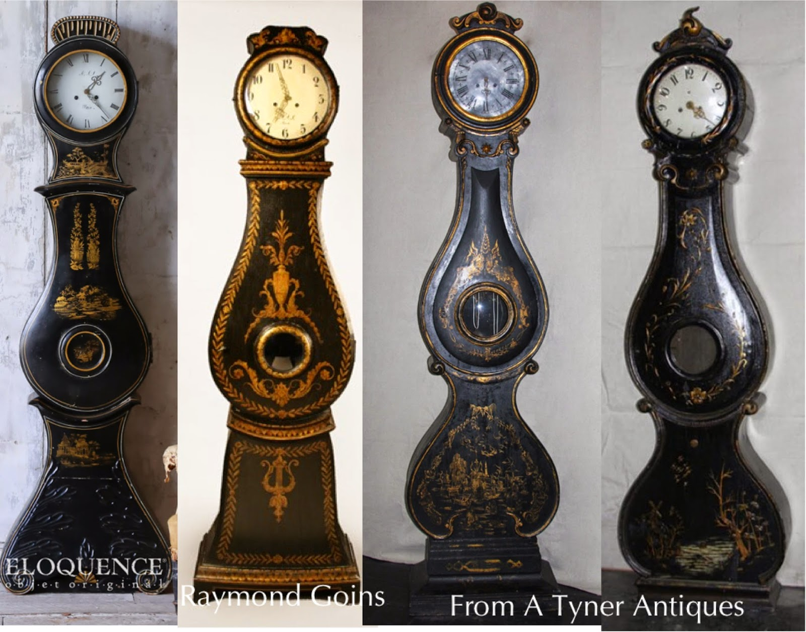 Black Antique Swedish Mora Clocks in Chinoiserie style!