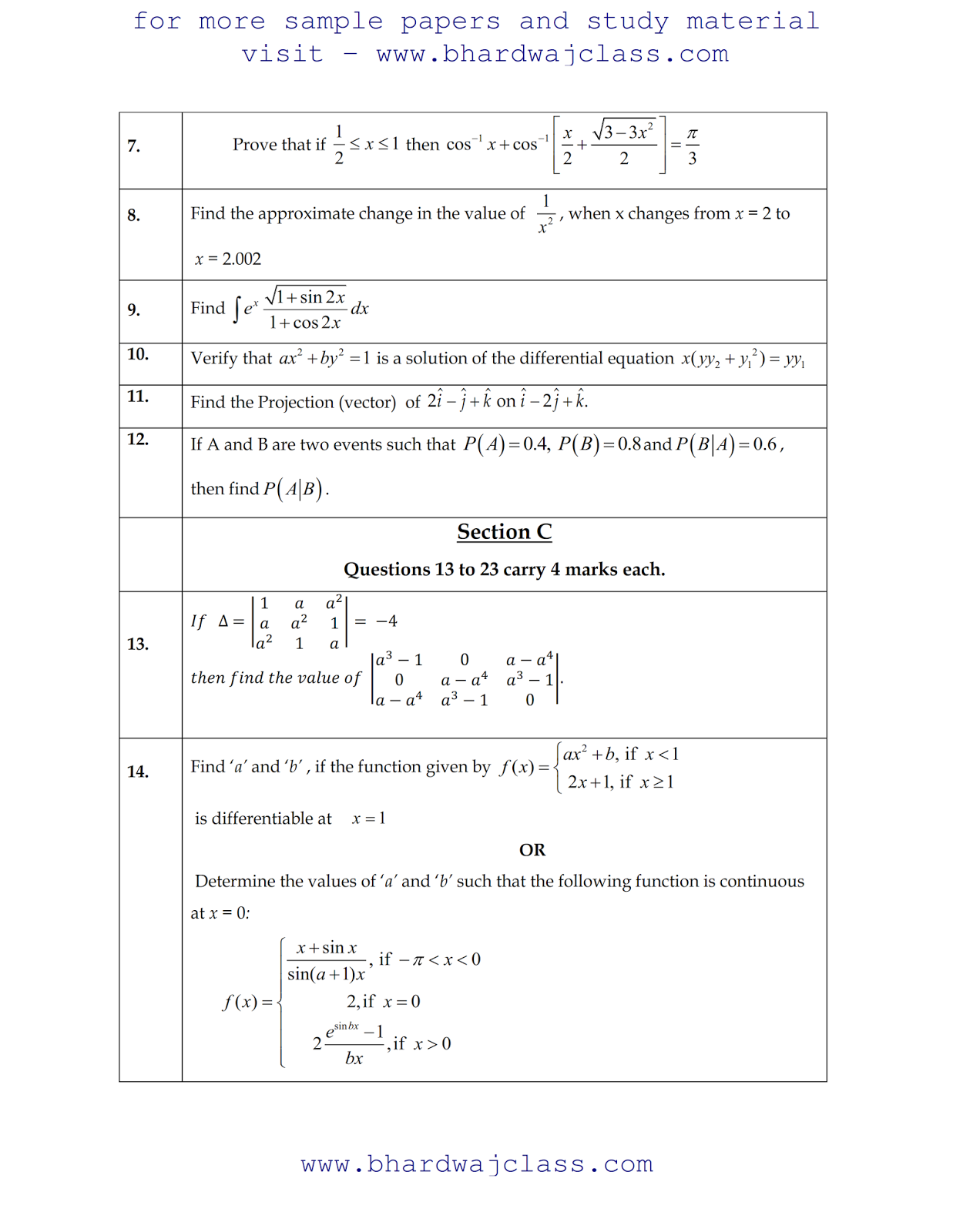 MATHS SAMPLE PAPER 2017-18