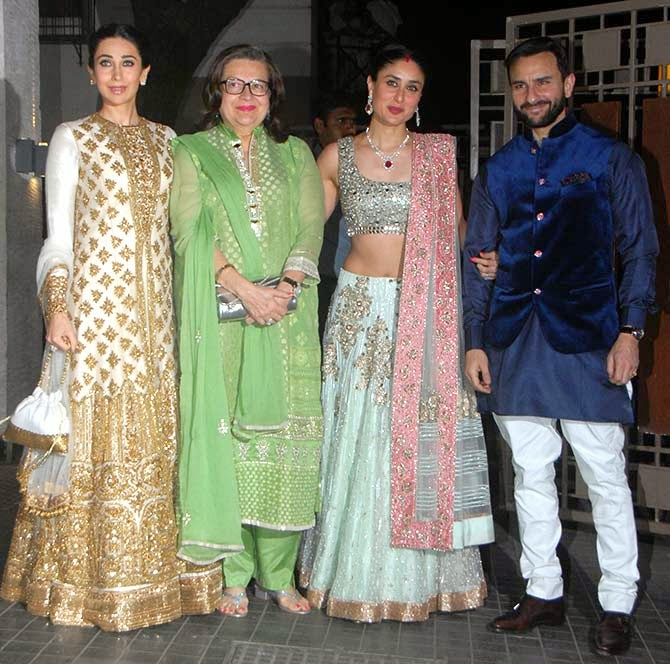 Karisma Kapoor, Mum Babita, Kareena Kapoor Khan and Saif Ali Khan - both Kareena and Karisma in Manish Malhotra