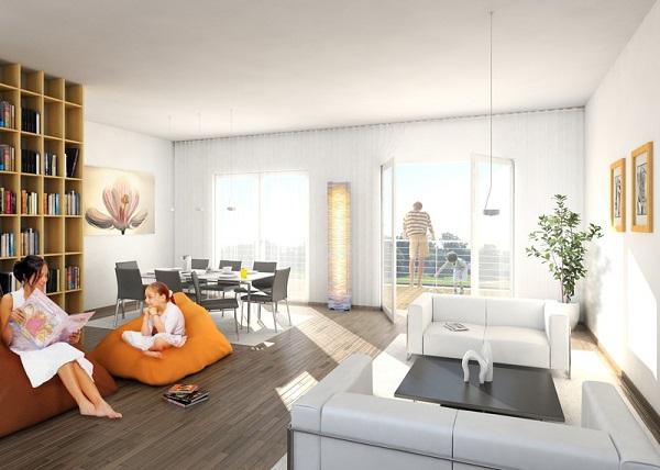 imagem de uma sala de estar com familiares desfrutando do lazer