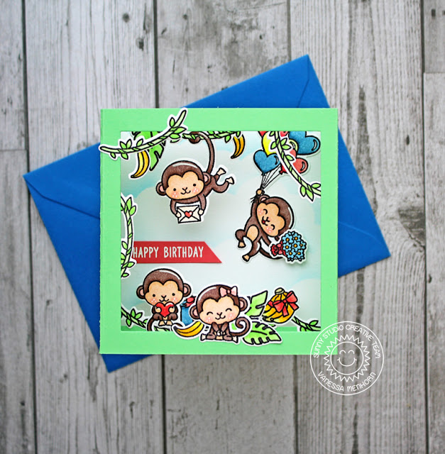 Sunny Studio Stamp: Love Monkey Happy Birthday Shadow Box Monkey Themed Card by Vanessa Menhorn
