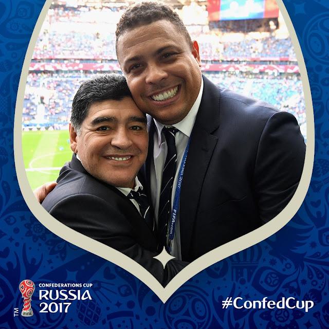 Diego Maradona y Ronaldo Nazario en la final de la ConfedCup: Leyendas!!