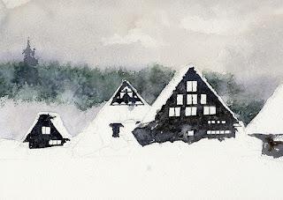 水彩画 雪の里 雪以外を塗る。 Watercolor The village in the snow Painting without  snow