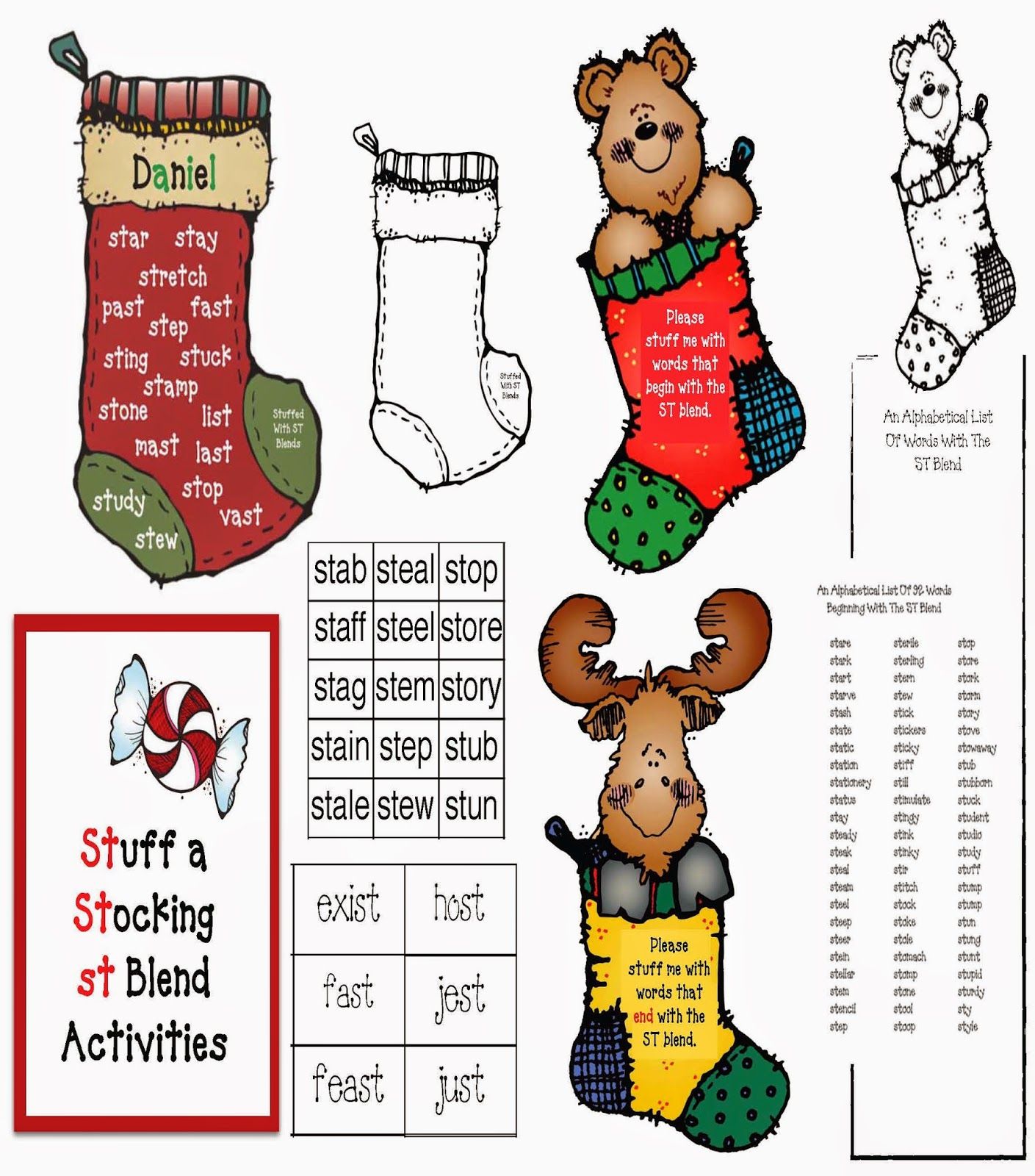 Classroom Freebies Stuff A Stocking Activities For The St