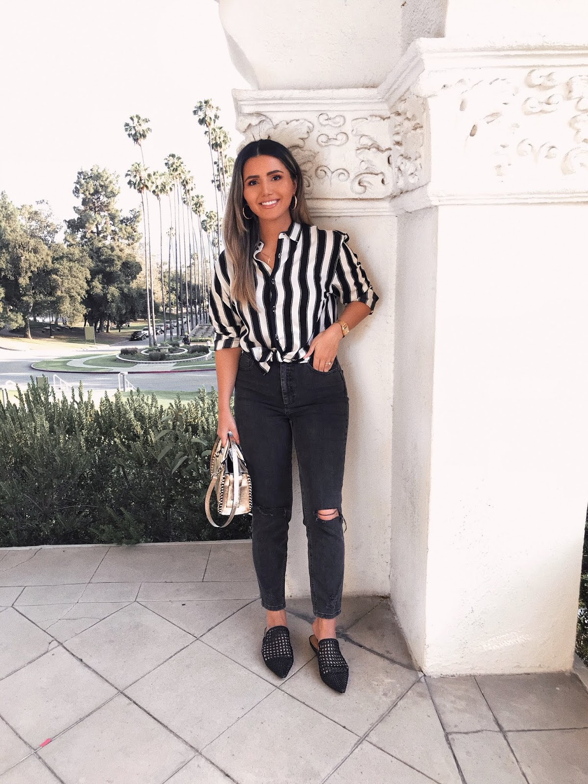 how to style button down shirt, Parmida Kiani, how to style, fashion tips, fall fashion 2018, stripe button down, asos men's shirt, styling my boyfriends shirt, wearing husband's shirt, tied button down, asos farleigh jeans, affordable fashion, Persian blogger, LA blogger, Pinterest outfit, ootd, outfit Inspo, what to wear, Los Angeles,