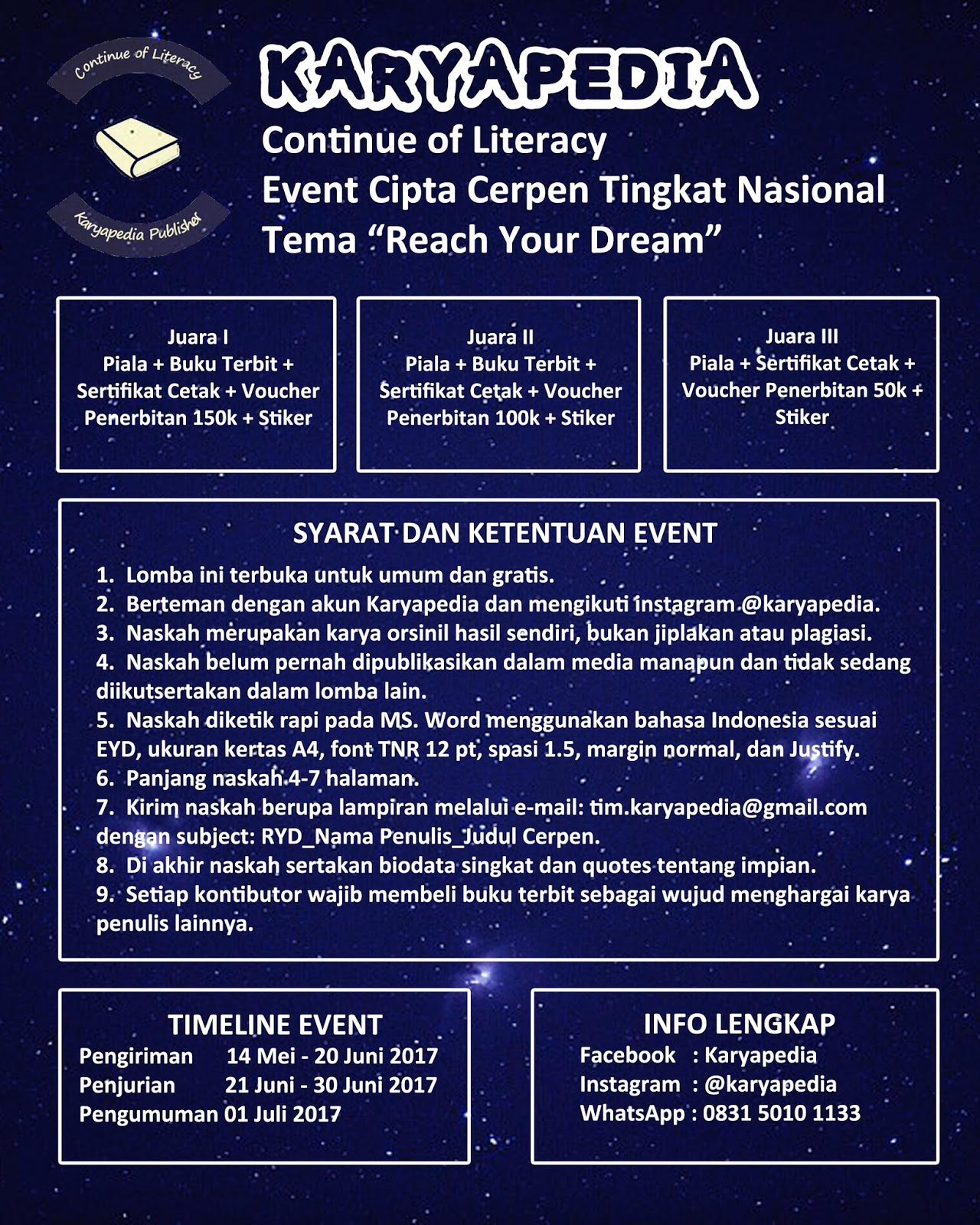 Event Cerpen Nasional Tema Reach Your Dream Bersama Karyapedia