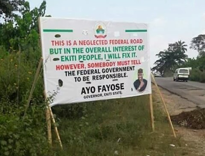 See The Sign Post Mounted By Gov Fayose In Ekiti Federal Road [funny]
