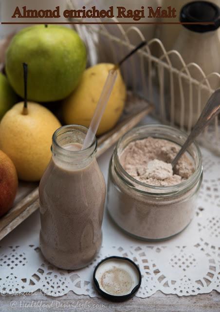 Ragi malt almond milkshake