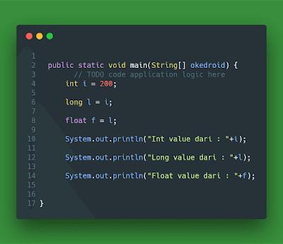 Contoh Implicit Casting Java