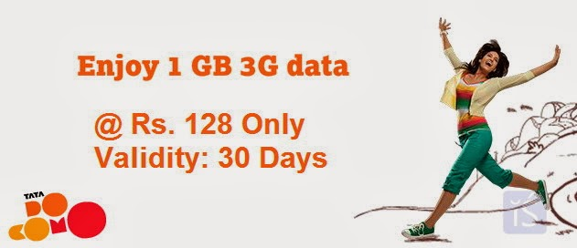TATA DOCOMO's New Rs 128 1GB 3G Pack with 30 days usage validity