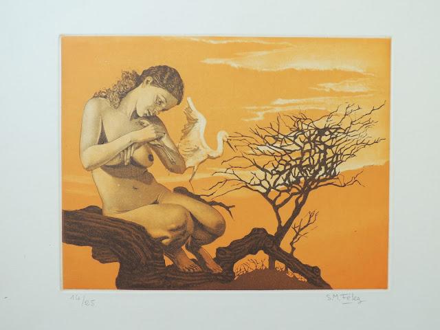 S. M. Félez artista grabado surrealista desnudo con pájaro