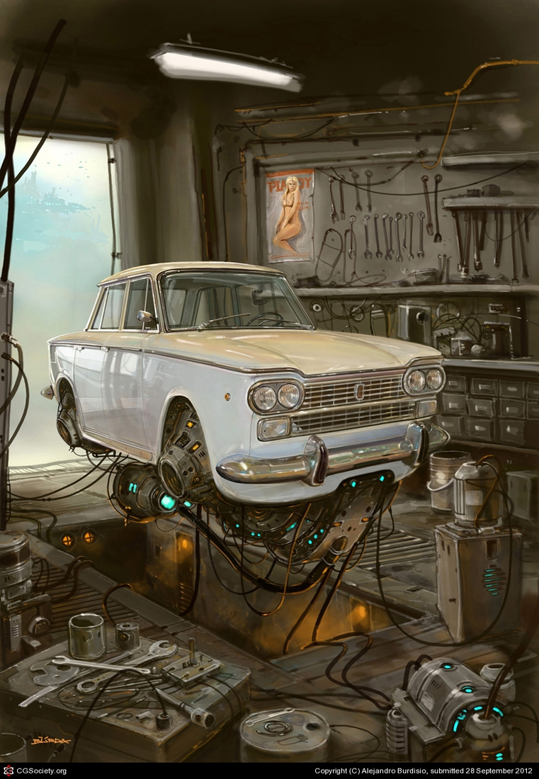 16-Taller-Mecánico-Car-Repair-Shop-Alejandro-Burdisio-Fantasy-Illustrations-in-the-Scrap-Metal-Universe-www-designstack-co