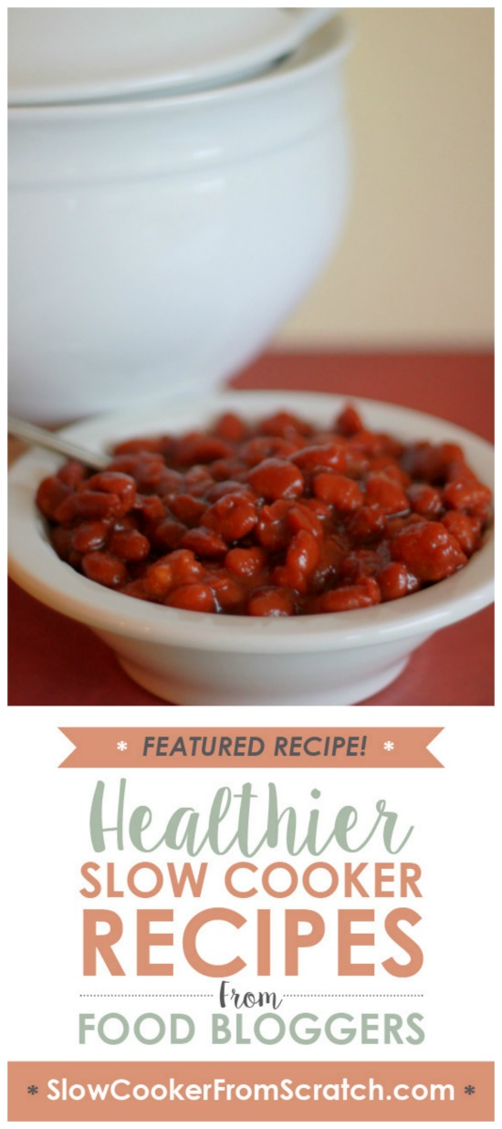 Slow Cooker Vegetarian Maple-Sriracha Baked Beans from Kitchen Treaty featured on SlowCookerFromScratch.com