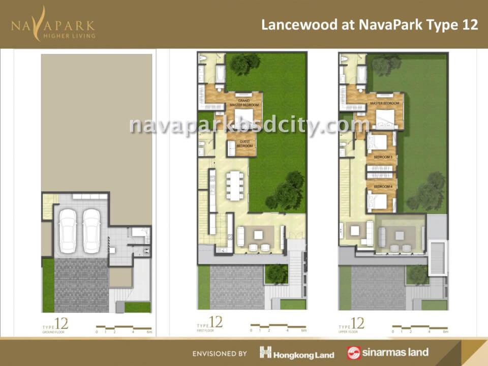 Denah Tipe 12 Lancewood Nava Park BSd