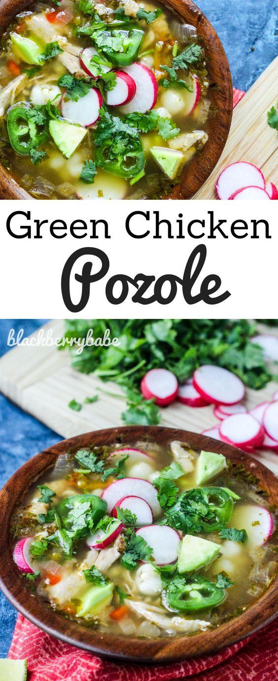 Easy Green Chicken Pozole (Pozole Verde,Soup)