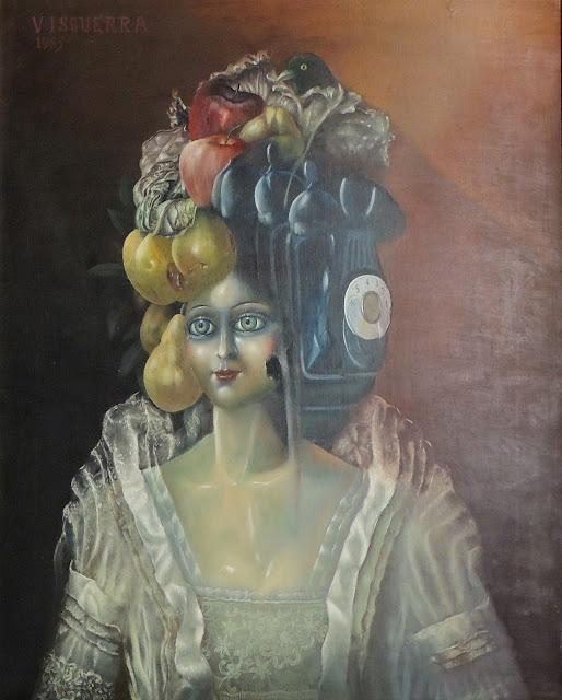 Julio Visquerra arte surrealista retrato cabeza de jugete frutas y telefono Arcimboldo