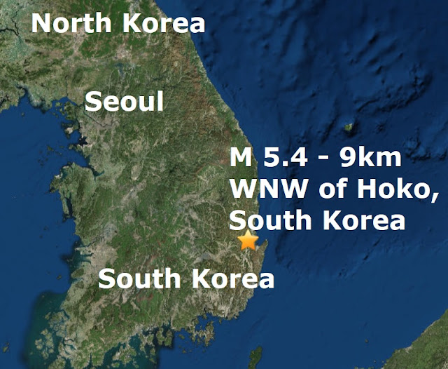 EARTHQUAKES IN STRANGE PLACES! A magnitude 5.4 - hits South Korea Naamloos