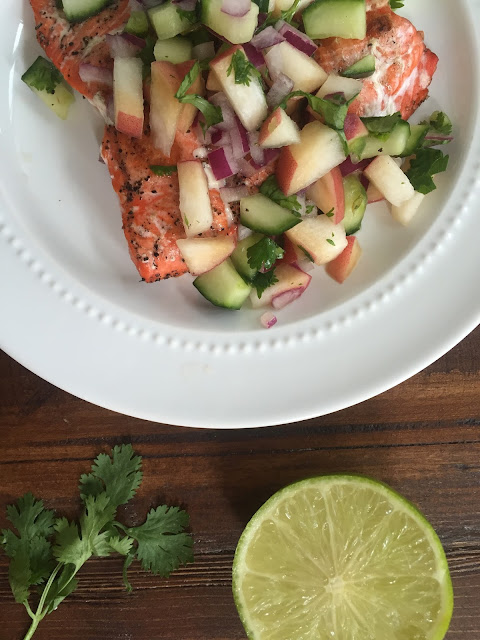 grilled salmon w/ white peach & cucumber salsa