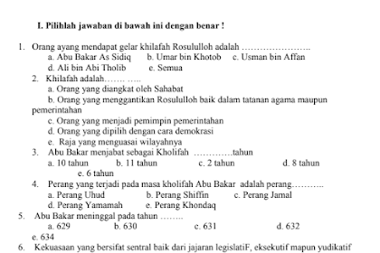 Download Soal UKK Mapel SKI Kelas X, XI