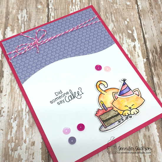 A Blog Named Hero - 5th Anniversary Celebration | Cake and Cat card by Jennifer Jackson | Newton Loves Cake Stamp set by Newton's Nook Designs #newtonsnook