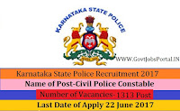 Karnataka State Police Recruitment 2017– 1300+ Civil Police Constable