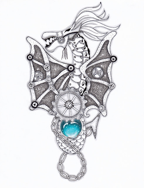 steampunk dragon with tummy gemstone by Alice Hendon