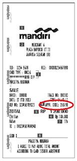 Aproval Code transaksi Kartu Kredit Bank Mandiri