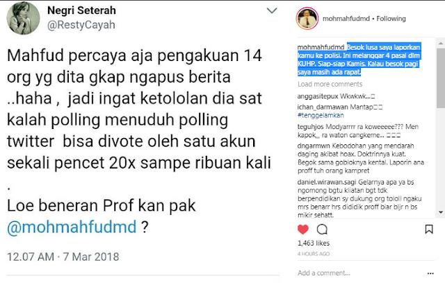 Menghina Prof Mahfud MD, Netizen Ini akan Dipolisikan