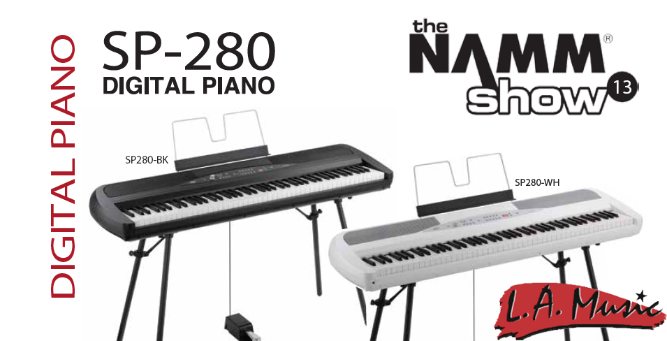 new from namm 2013 korg sp 280 digital piano l a music network. Black Bedroom Furniture Sets. Home Design Ideas