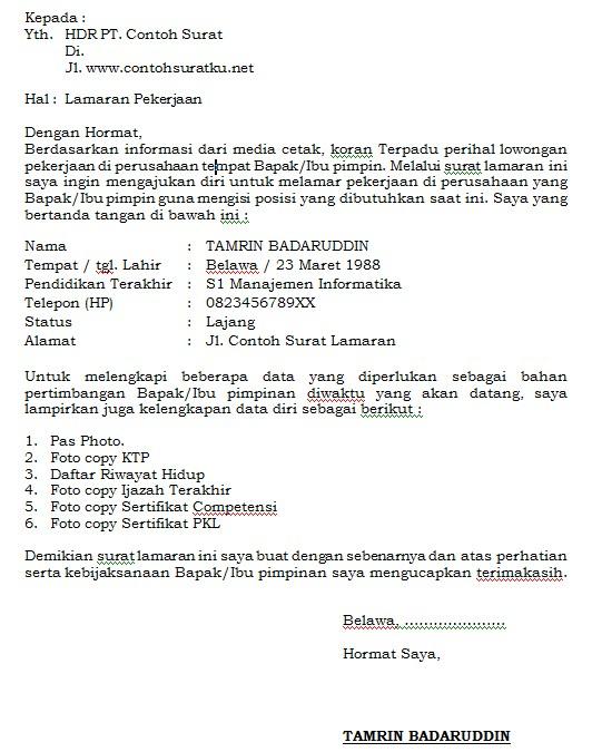 Surat Lamaran Kerja Cara Penulisan, Download Contoh dalam File Word