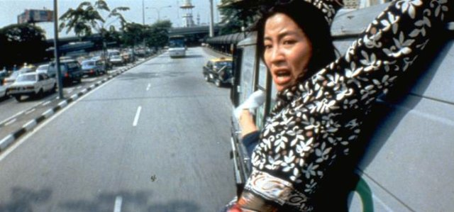 Here we see a typical morning of Michelle Yeoh on her way to work.