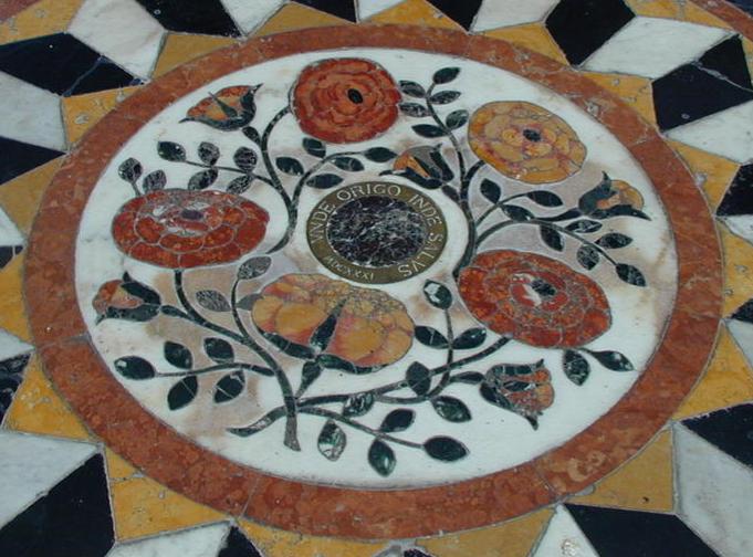 The inscription unde origo inde salus in the church of Santa Maria della Salute, Venice