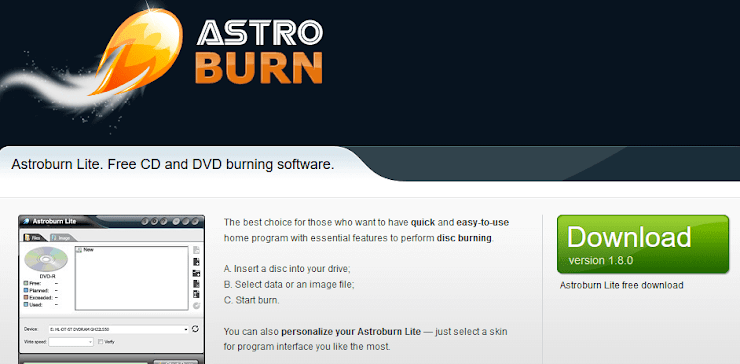 Astroburn lite software for burning DVD disks