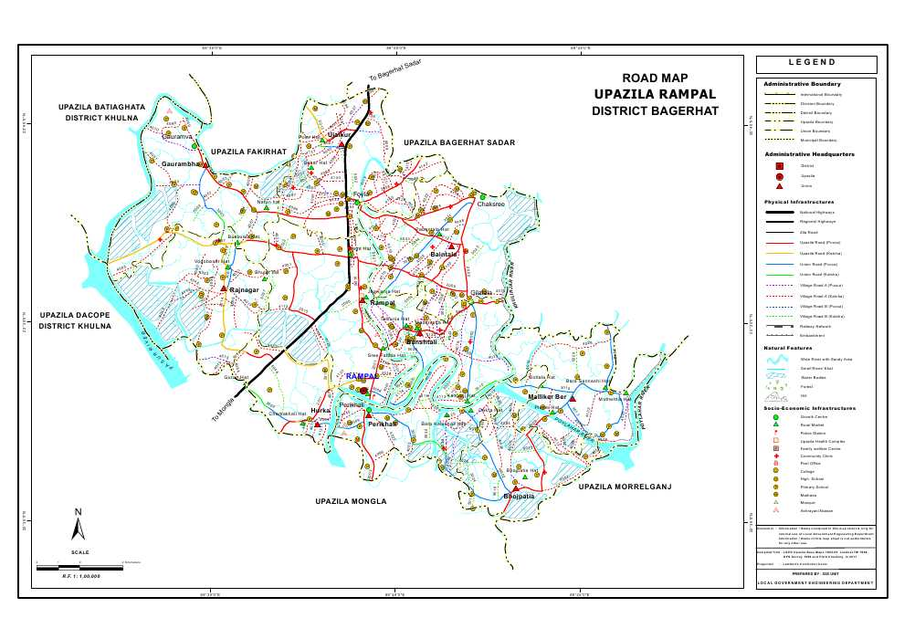 Rampal Upazila Road Map Bagerhat District Bangladesh
