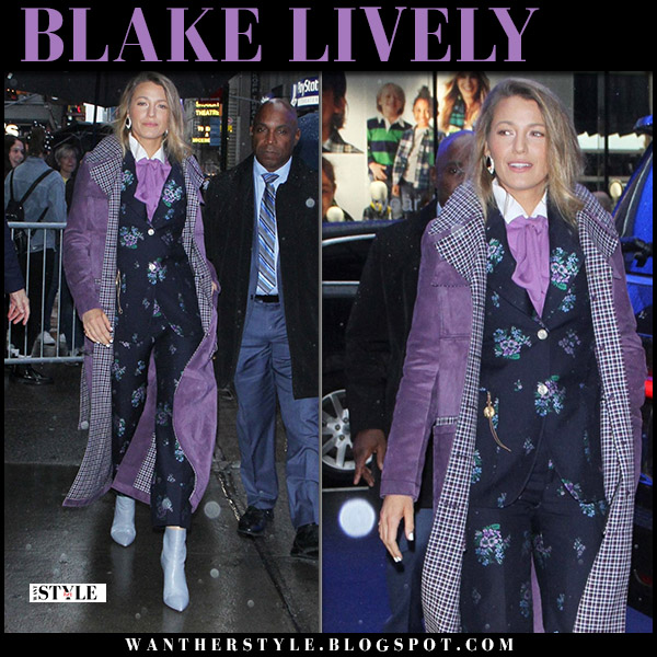 Blake Lively in purple suede coat bottega veneta and floral print suit gucci fall fashion september 10