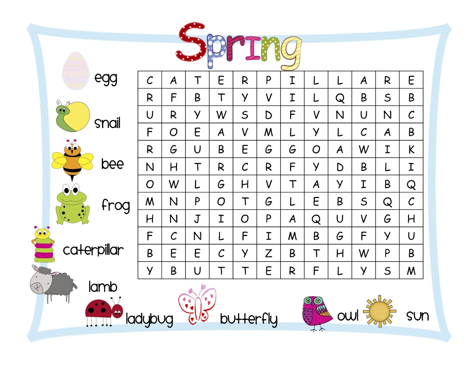 Classroom Freebies Spring Word Search