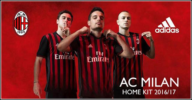 Official Jersey AC Milan Musim 2016-2017 Home Grade Ori