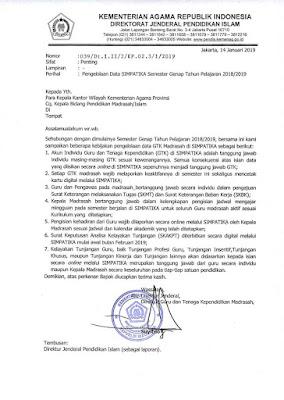 Dirjen Pendis Kemenag melalui Direktur GTK Madrasah kembali menerbitkan surat edaran terb Edaran Pengelolaan Data Simpatika Januari 2019