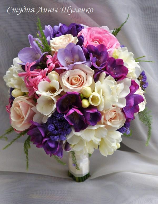 Опт москва, свадебный букет с орхидеями и гиацинтом цена