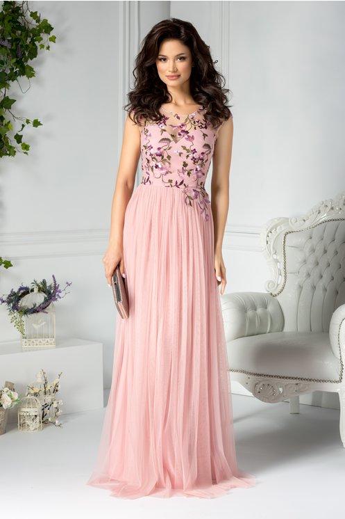 Rochie eleganta de seara lunga din tull roz pal cu broderie