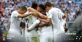 Hasil Skor Uruguay vs Prancis 0-2 Perempat Final Piala Dunia 2018. Prancis ke Semifinal