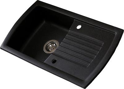 Chiuveta neagra din granit compozit dreptunghiulara, 1 cuva si picurator, reversibila