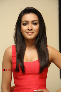 Actress Catherine Tresa Latest Pos in Red Short Dress at Intex Air Conditioners Launch  0004.jpg