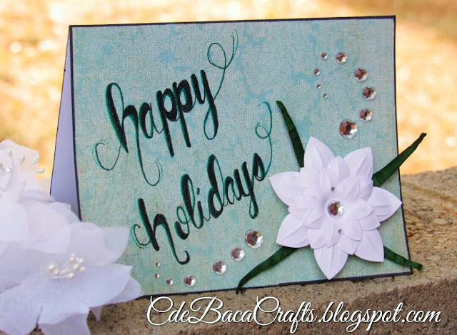 Handmade holiday card by CdeBaca Crafts blog.
